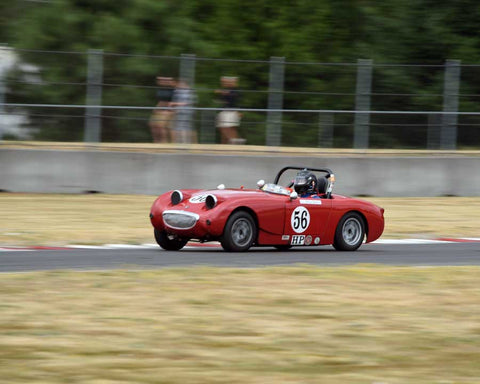 Chip Starr with 1960 Austin Healey Bugeye Sprite in Group 1 - Small Bore Production Cars at the 2015 Portland Vintage Racing Festival at Portland International Raceway