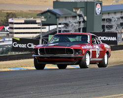 Andrew Alcazar with 1969 Ford Mustang Boss 302 in Group 10 - 1966-1972 Historic Trans-Am Cars at the 2015 Sonoma Historic Motorsports Festival at Sonoma Raceway