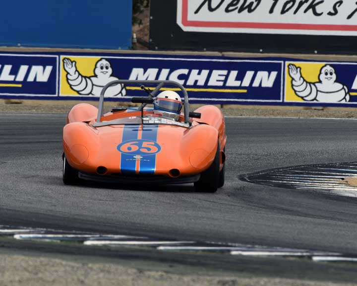 Donald Anderson with 1964 BobsywithPorsche SR3 in Group 4 - Weissach Cup at the 2015 Rennsport Reunion V, Mazda Raceway Laguna Seca