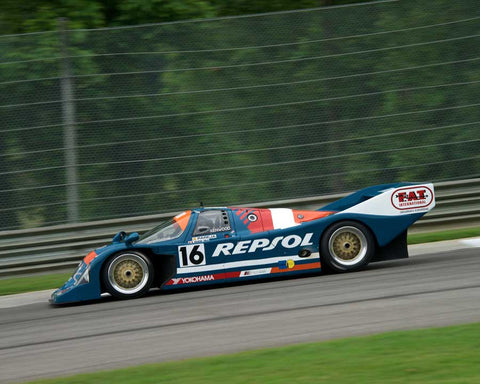 Lloyd Hawkins with 1990 Porsche 962C in Group 5 at the 2015 HMSA Barber Historics