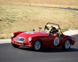 Diane Cox driving her 1960 MGA at the 2015 CSRG Thunderhill Rolling Thunder at Thunderhill Raceway