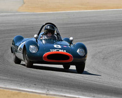 Charles Mccabe with 1955 Cooper T39 Bobtail in Group 3B - 1955-1961 Sports Racing Cars under 2000cc at the 2015-Rolex Monterey Motorsport Reunion, Mazda Raceway Laguna Seca