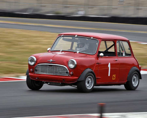 Brian Waters with 1960 Mini Cooper in Group 1 - Small Bore Production Cars at the 2015 Portland Vintage Racing Festival at Portland International Raceway