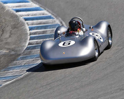 Frank Altamura with 1955 Porsche Special Spyder Pupulidy in Group 3B - 1955-1961 Sports Racing Cars under 2000cc at the 2015-Rolex Monterey Motorsport Reunion, Mazda Raceway Laguna Seca
