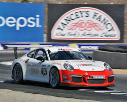 Elliot Skeer with 2015 Porsche GT3 Cup in Group 7 - Porsche GT3 Cup at the 2015 Rennsport Reunion V, Mazda Raceway Laguna Seca