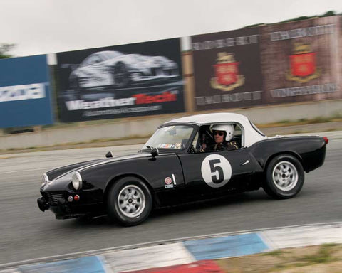 Stan Rinne with 1962 Triumph Spitfire in Group 3  at the 2016 HMSA Spring Club Event - Mazda Raceway Laguba Seca