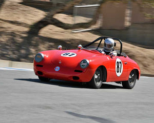 Max Jamiesson with 1960 Porsche 356 Super 90 Roadster in Group 2 - Gmund Cup at the 2015 Rennsport Reunion V, Mazda Raceway Laguna Seca