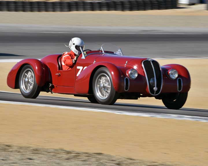 Conrad Stevenson with 1939 Alfa Romeo 6c2500 Super Sport in Group 1A - Pre 1940 Sports Racing and Touring Cars at the 2015-Rolex Monterey Motorsport Reunion, Mazda Raceway Laguna Seca