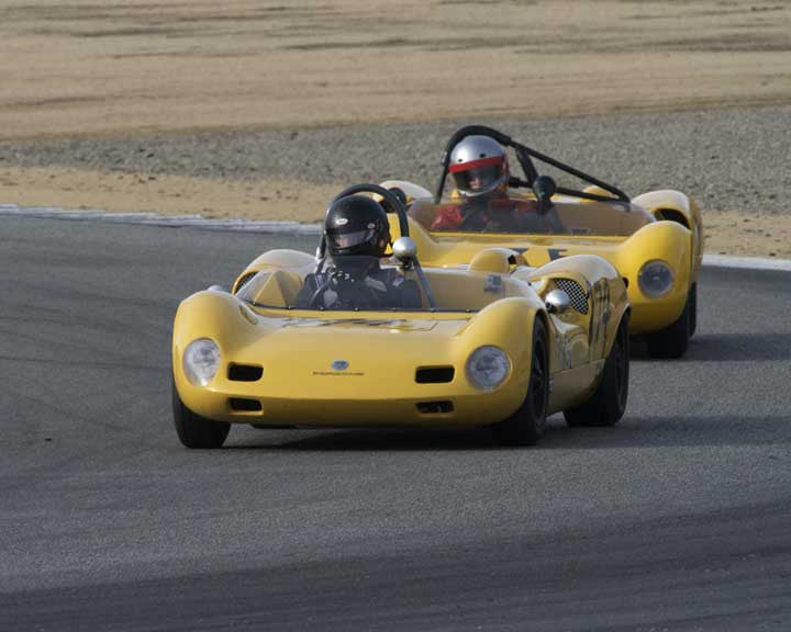Gregory Campbell with 1964 Elva Porsche Mk 7s in Group 4 - Weissach Cup at the 2015 Rennsport Reunion V, Mazda Raceway Laguna Seca