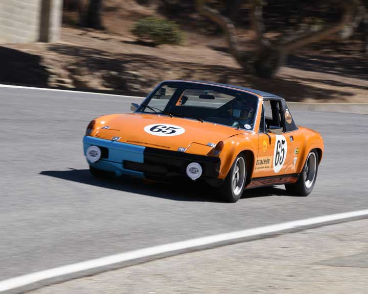 Edith Arrowsmith with 1970 Porsche 914/6 GT in Group 3 - Eifel Trophy at the 2015 Rennsport Reunion V, Mazda Raceway Laguna Seca