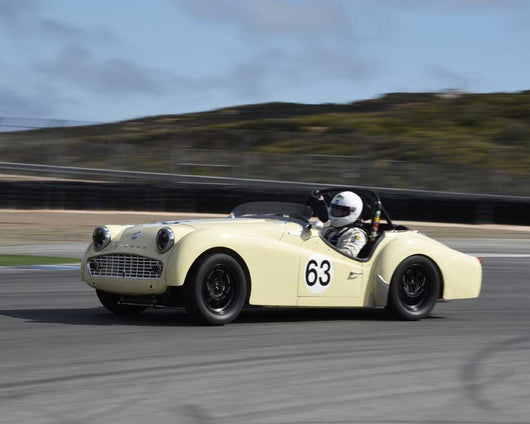 Dave Hogye with 1959 Triumph TR3A in Group 1 at the 2015 HMSA LSR Invitational II at Mazda Raceway Laguna Seca