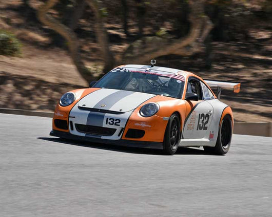 Pat Laughlin with 2007 Porsche GT3 Cup in Group 1 - PCA Sholar-Friedman Cup at the 2015 Rennsport Reunion V, Mazda Raceway Laguna Seca