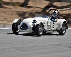 John Buddenbaum with 1949 Jaguar Parkinson Special in Group 2B - 1947-1955 Sports Racing and GT Cars at the 2015-Rolex Monterey Motorsport Reunion, Mazda Raceway Laguna Seca