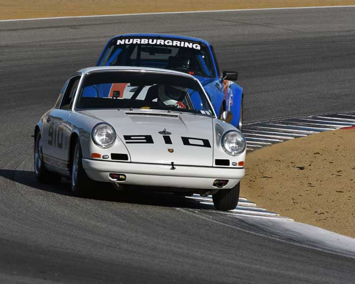 Carl Tofflemire with 1967 Porsche 911 in Group 3 - Eifel Trophy at the 2015 Rennsport Reunion V, Mazda Raceway Laguna Seca