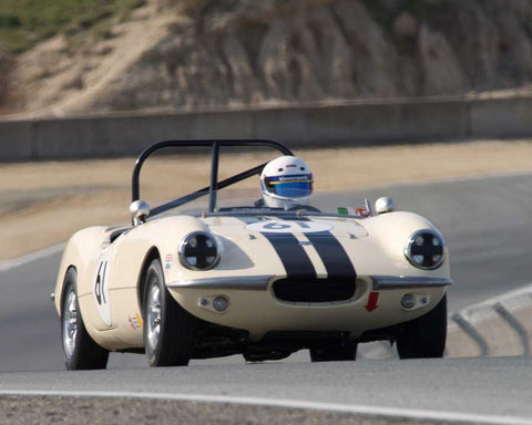 William Kirkwood driving his Elva Courier Mk II in Group 1 at the 2015 HMSA Spring Club Event at Mazda Raceway Laguna Seca