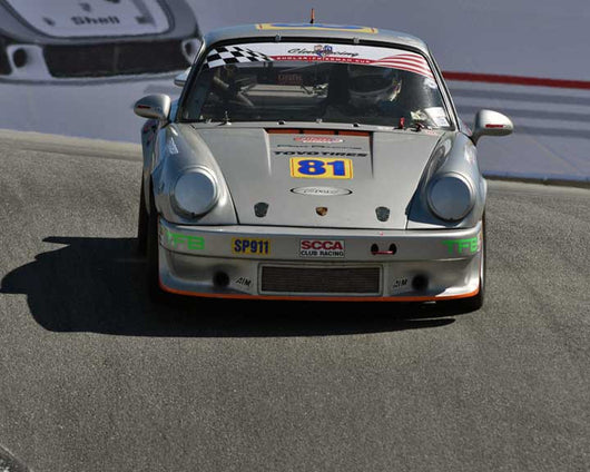 Behram Soonawala with 1975 Porsche 911 in Group 1 - PCA Sholar-Friedman Cup at the 2015 Rennsport Reunion V, Mazda Raceway Laguna Seca