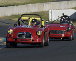 Diane Cox driving her 1960 MG MGA in Group 1 at the 2015 CSRG David Love Memorial Vintage Car Road Races at Sonoma Raceway