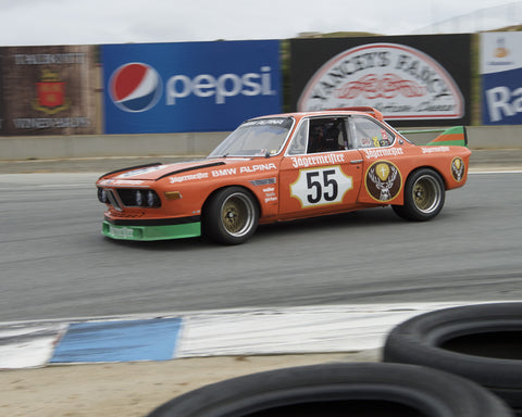 Jeff Gerken driving his BMW 3.0 CSL in Group 7 at the 2015 HMSA Spring Club Event at Mazda Raceway Laguna Seca