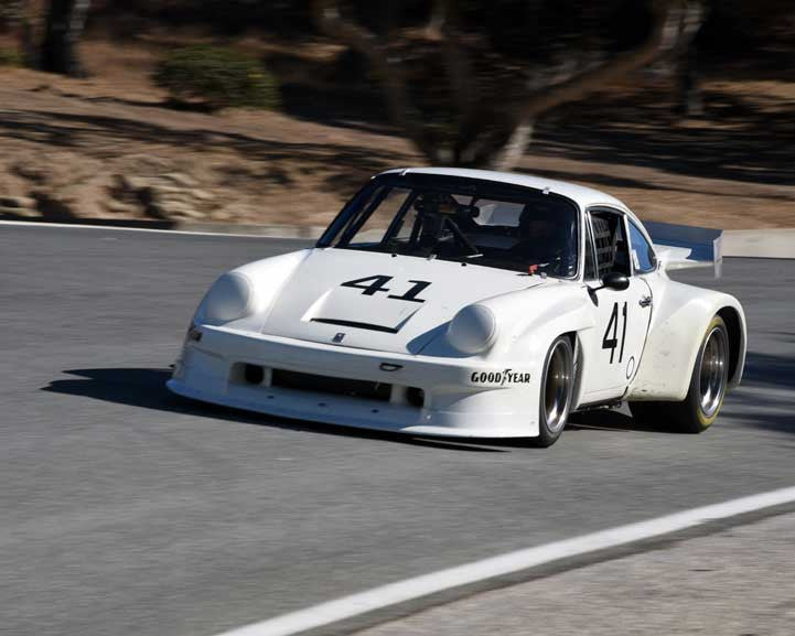 Charles Patrick Costin with 1974 Porsche 911 with IMSA GTO in Group 5 - Carrera Trophy at the 2015 Rennsport Reunion V, Mazda Raceway Laguna Seca