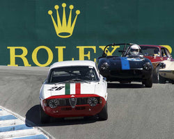 Andre Lara Resende with 1967 Alfa Romeo Giulia Sprint GTA in Group 4B - 1961-1966 GT Cars under 2500cc at the 2015-Rolex Monterey Motorsport Reunion, Mazda Raceway Laguna Seca