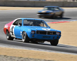 Joseph Conte with 1968 AMC Javelin in Group 6B - 1966-1972 Historic TransAM Cars at the 2015-Rolex Monterey Motorsport Reunion, Mazda Raceway Laguna Seca