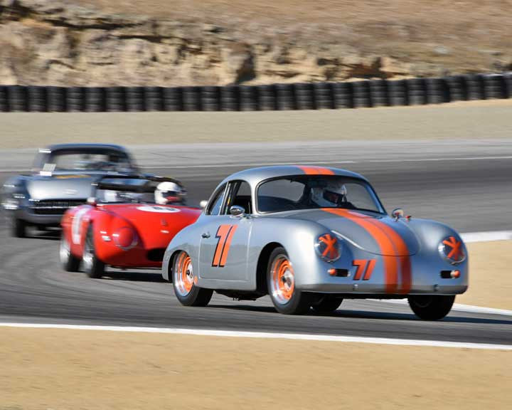 Paul Frame with 1957 Porsche 356A in Group 2A - 1955-1962 GT Cars at the 2015-Rolex Monterey Motorsport Reunion, Mazda Raceway Laguna Seca