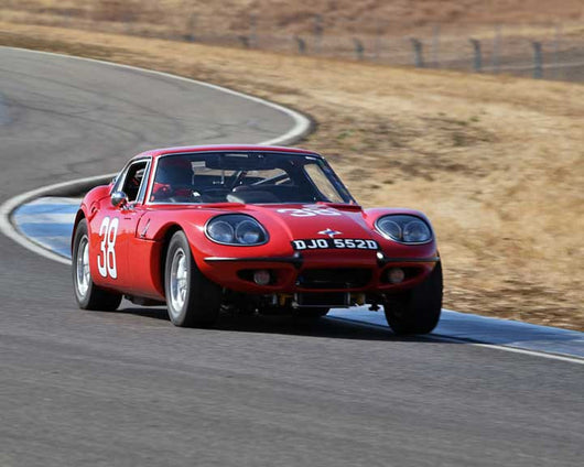 Mike Denman with 1966 Marcos 1800 GT in  Group 2 at the 2015 Season Finale at Thunderhill Raceway