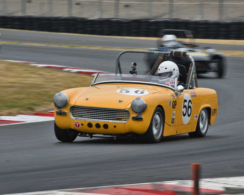 David Sweet with 1962 Austin Healey Sprite in Group 1 - Small Bore Production Cars at the 2015 Portland Vintage Racing Festival at Portland International Raceway