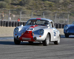 Lindsay Ross with 1963 Porsche 356 Super 90 in Group 2 - Gmund Cup at the 2015 Rennsport Reunion V, Mazda Raceway Laguna Seca