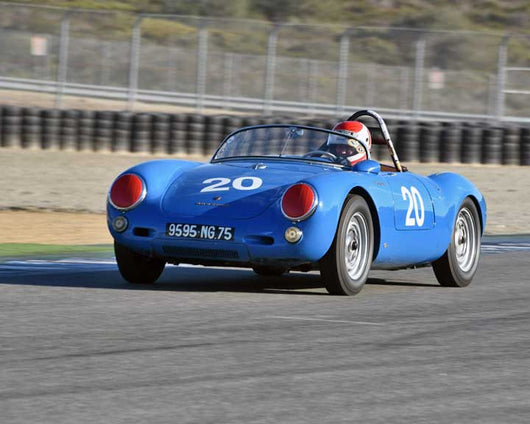 Bob Baker with 1955 Porsche 1500 550 RS Spyder in Group 2 - Gmund Cup at the 2015 Rennsport Reunion V, Mazda Raceway Laguna Seca