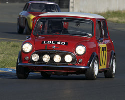 Dennis Racine driving his 1966 Mini Coooper S in Group 2 at the 2015 CSRG David Love Memorial Vintage Car Road Races at Sonoma Raceway
