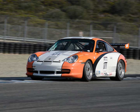 Bob Corliss with 2005 Porsche GT3 Cup in Group 6 - Stuttgart Cup at the 2015 Rennsport Reunion V, Mazda Raceway Laguna Seca
