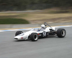 Graham Adelman driving his 1968 Brabham BT23C in Group 2 at the 2015 HMSA LSR Inventional I at Mazda Raceway Laguna Seca