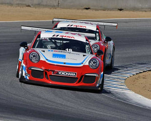 John Goetz with 2015 Porsche GT3 Cup in Group 7 - Porsche GT3 Cup at the 2015 Rennsport Reunion V, Mazda Raceway Laguna Seca