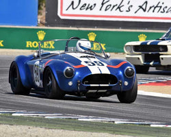 Jim Bouzaglou with 1964 Cobra 289 in Group 5B - 1963-1966 GT Cars over 2500cc at the 2015-Rolex Monterey Motorsport Reunion, Mazda Raceway Laguna Seca