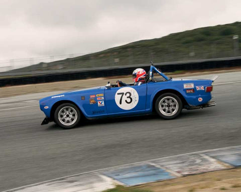Walter Hollowell with 1970 Triumph TR6 in Group 3  at the 2016 HMSA Spring Club Event - Mazda Raceway Laguba Seca