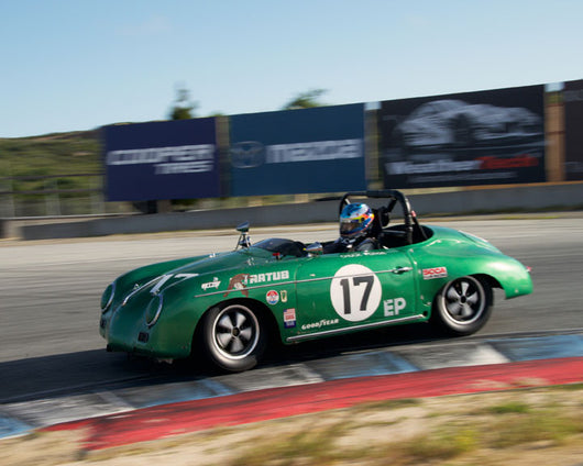 Don Bell with 1958 Porsche 356 at the 2016 HMSA LSR Invitational I at Mazda Raceway Laguna Seca
