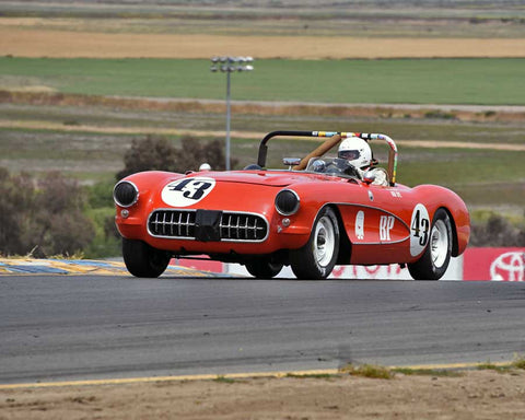 Russ Uzes with 1957 Chevrolet Corvette in Group 3 - 1955-1962 Production and GT Cars at the 2015 Sonoma Historic Motorsports Festival at Sonoma Raceway
