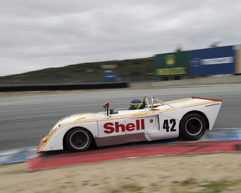 Francois Castaing driving his Chevron B23 in Group 5 at the 2015 HMSA Spring Club Event at Mazda Raceway Laguna Seca