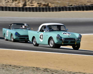 Steven Alcala with 1962 Sunbeam Alpine in Group 2A - 1955-1962 GT Cars at the 2015-Rolex Monterey Motorsport Reunion, Mazda Raceway Laguna Seca