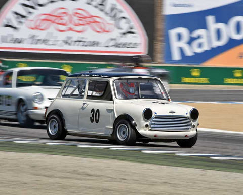 Timothy De Silva with 1962 Austin Mini Cooper in Group 4B - 1961-1966 GT Cars under 2500cc at the 2015-Rolex Monterey Motorsport Reunion, Mazda Raceway Laguna Seca