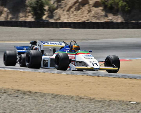 Anthony Nobles with 1983 RAM March in Group 8A - 1967-1984 Formula One Cars at the 2015-Rolex Monterey Motorsport Reunion, Mazda Raceway Laguna Seca