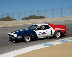 Stephen Sorenson with 1972 AMC Javelin in Group 6B - 1966-1972 Historic TransAM Cars at the 2015-Rolex Monterey Motorsport Reunion, Mazda Raceway Laguna Seca