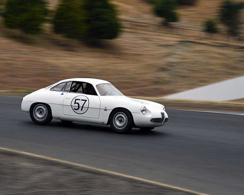 Sandra McNeil with 1960 Alfa Romeo SZ in Group 3 - 1955-1962 Production and GT Cars at the 2015 Sonoma Historic Motorsports Festival at Sonoma Raceway