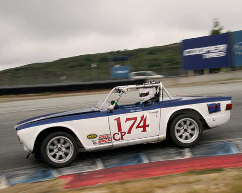 Chuck Arnold with 1969 Triumph TR6 in Group 3  at the 2016 HMSA Spring Club Event - Mazda Raceway Laguba Seca