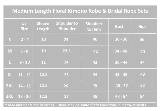 Womens Floral Kimono Medium Length Robe Size Chart