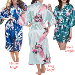 Womens Floral Kimono Robes in Three Lengths
