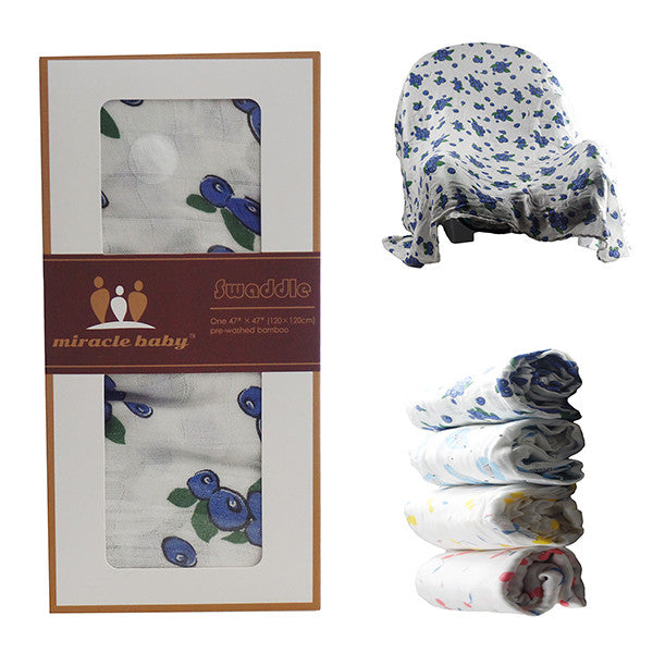 Miracle Baby Soft & Versatile 100% Bamboo Swaddle Blanket, 47 x 47, Large