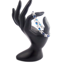 Elegant 18K White Gold Plated Bracelet With Created Sapphire Stones - Gifts Are Blue - 2
