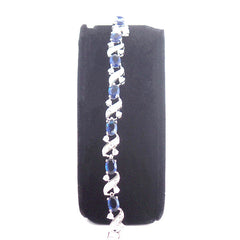 Elegant 18K White Gold Plated Bracelet With Created Sapphire Stones - Gifts Are Blue - 3